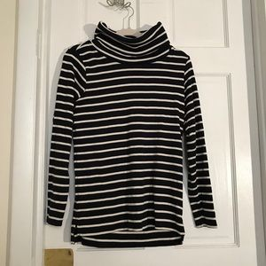 LL bean navy and white striped turtleneck